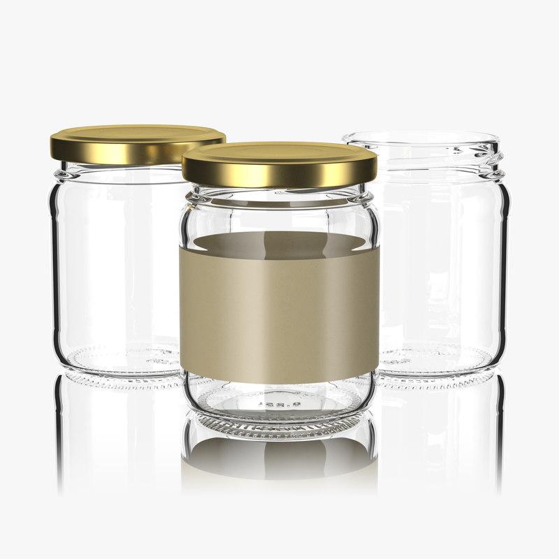 3D model glass jar 250ml