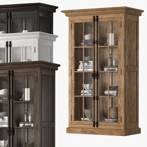 3D french casement double-door cabinet