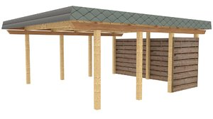 3D model wooden carport low-poly