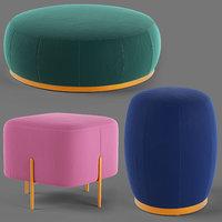poufs fabric 3D model