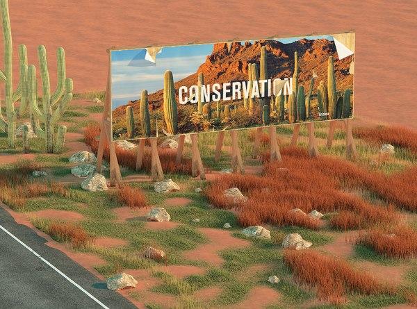 3D vintage roadside billboard