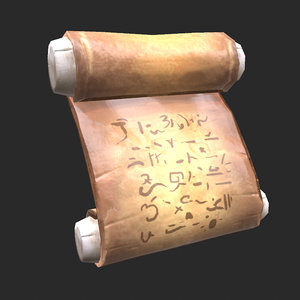 low-poly ancient scroll 3D model