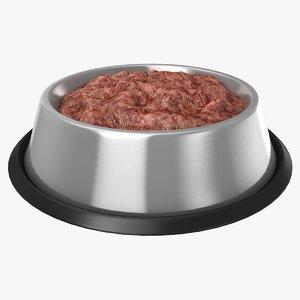 3D bowl dog lamb food model
