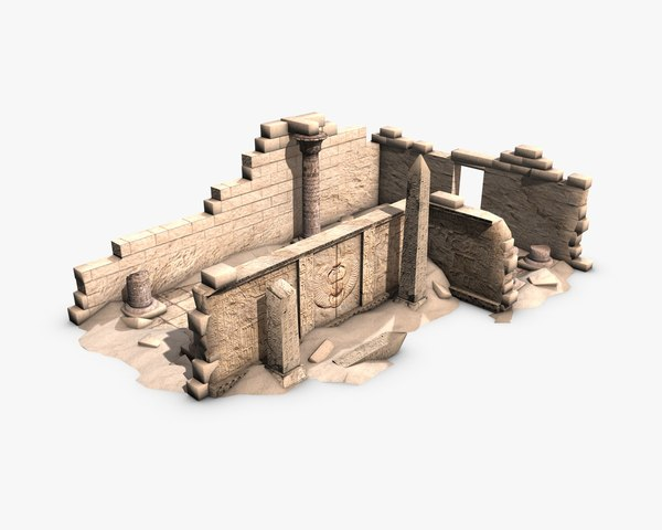 3D model egyptian ruined temple