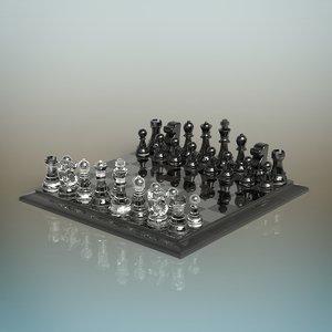 3D model glass chess set