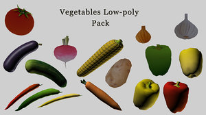 3D vegetables corn eggplant