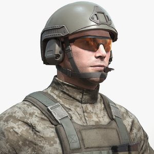 photorealistic realtime soldier character 3D model