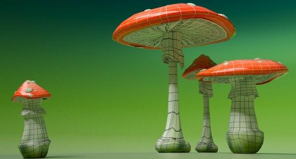 3D model poisonous toadstools