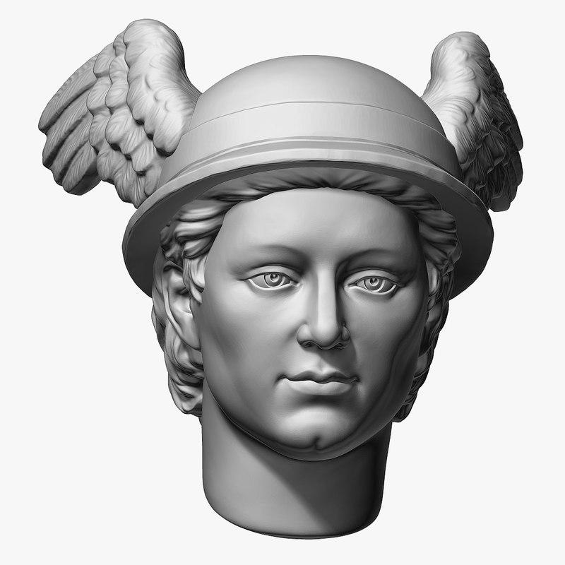 mercury roman god head 3D