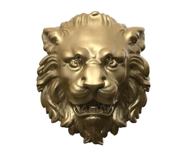 baroque lion head relief model