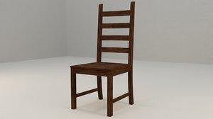 wooden chair mrone 3D model