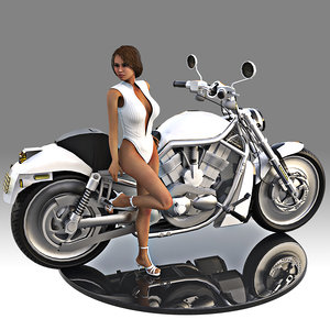 3D hot girl women sitting model