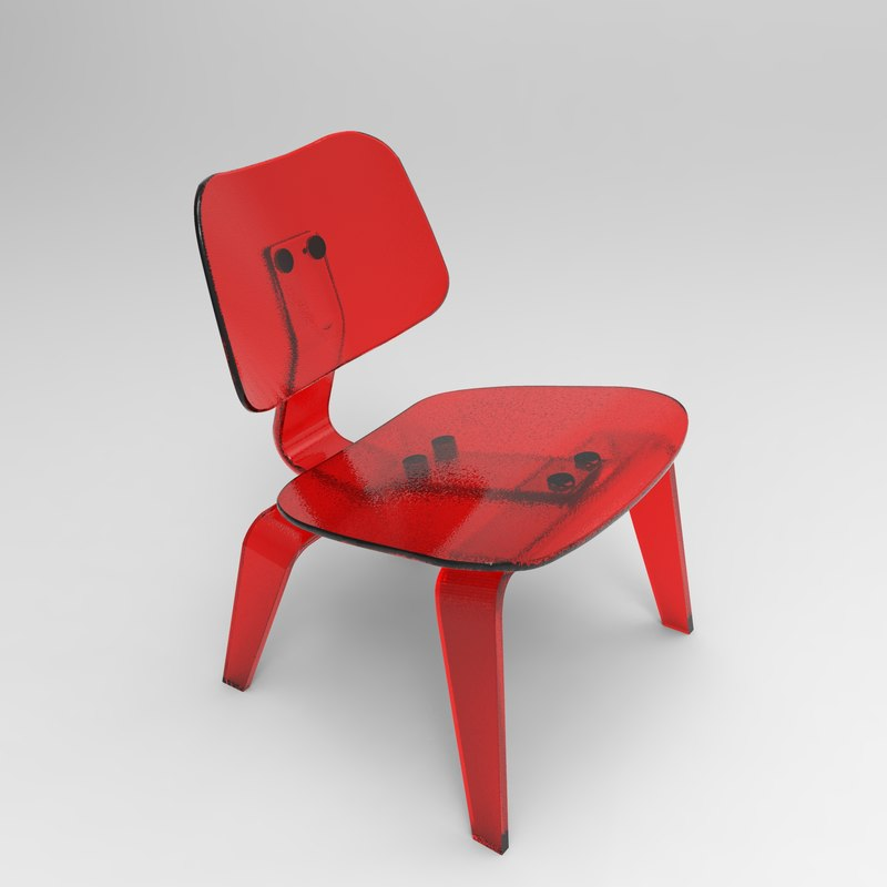 eames lounge chair wood 3D model