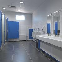 3D model realistic restroom public