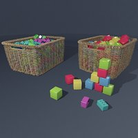Rattan baskets with toys