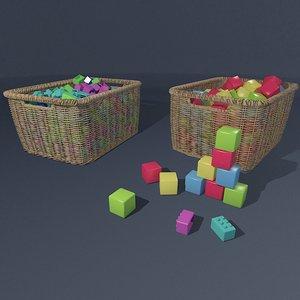 rattan baskets toys 3D model