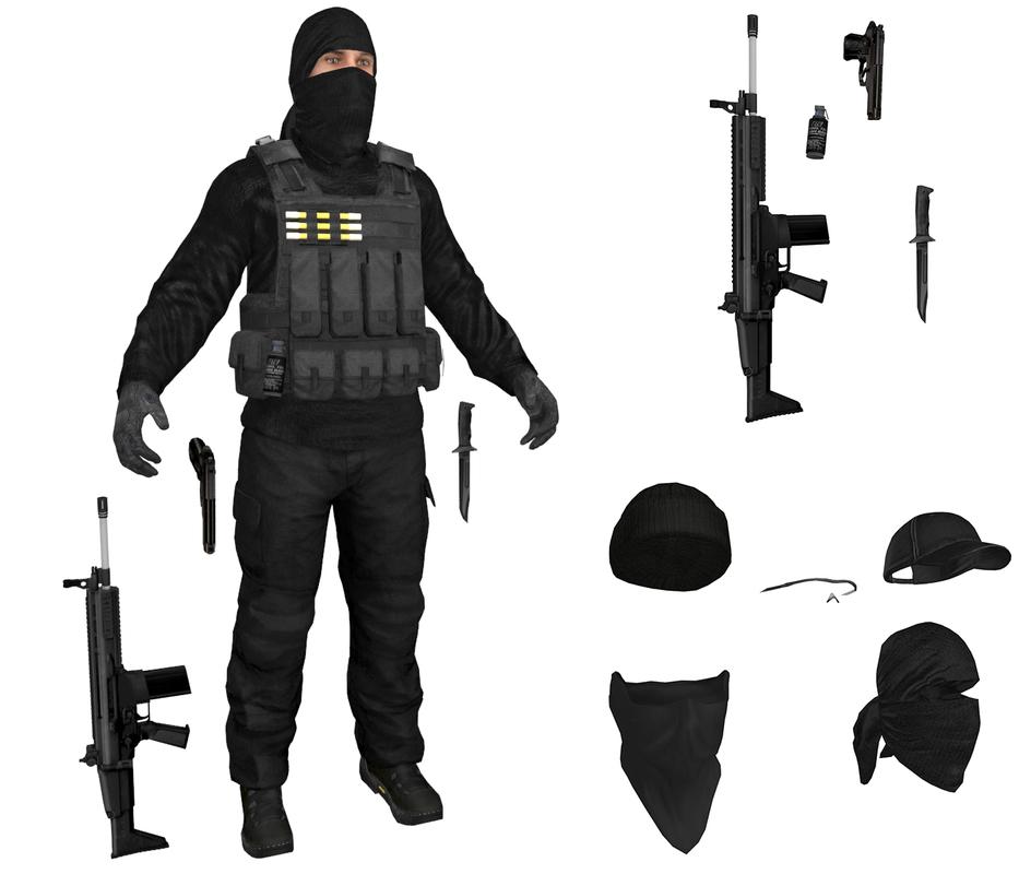 3D model mercenary terrorist