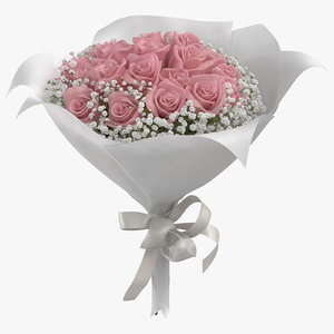 pink rose bouquet 01 3D model