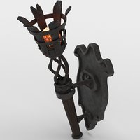 Medieval torch burning  and Holder