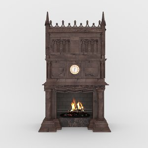 gothic fireplace 3D model