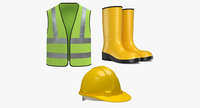 Worker Safety Equipment -  Worker Vest - Rubber Boots - Hard Hat
