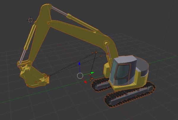 3D model construction excavator tractor