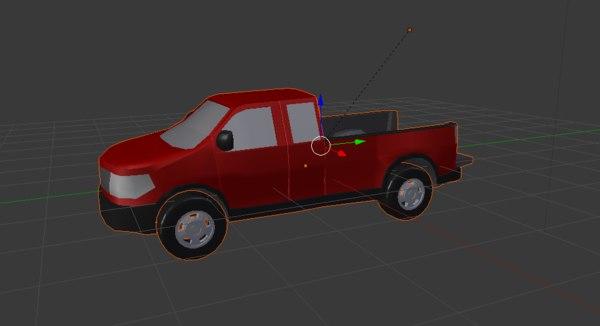 red pickup truck 3D model