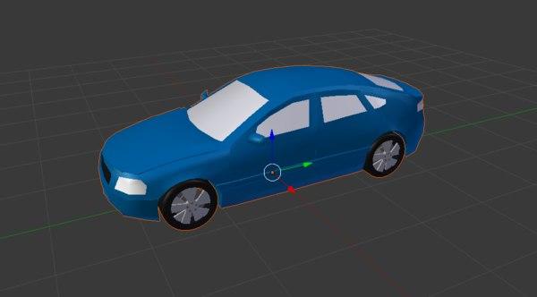 3D unbranded blue car model