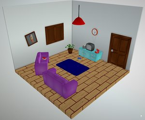 Cartoon Living Room - Low Poly