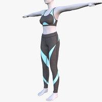 3D model yoga pants bra