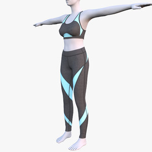 3D model yoga pants bra