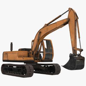 excavator midpoly 3D model