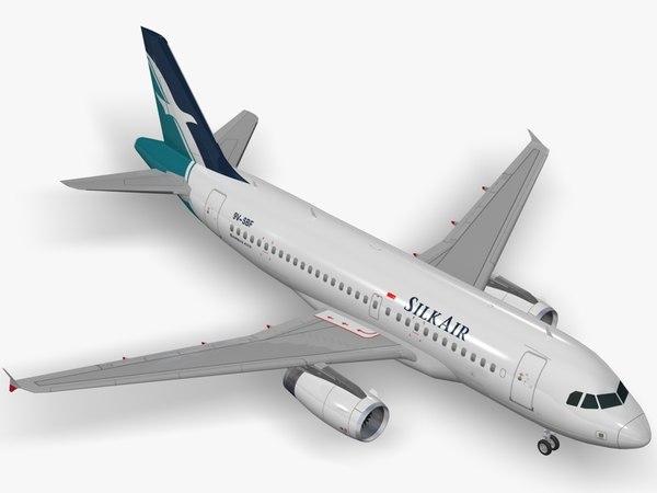 3D model airbus a319 silkair airliner