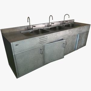 3D decontamination sink