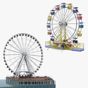 3D model ferris wheels rigged