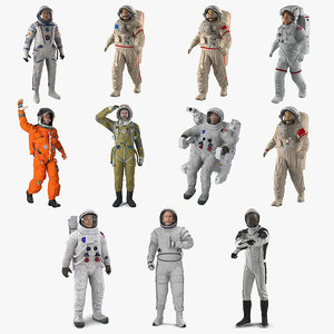 3D astronauts 6 rigged