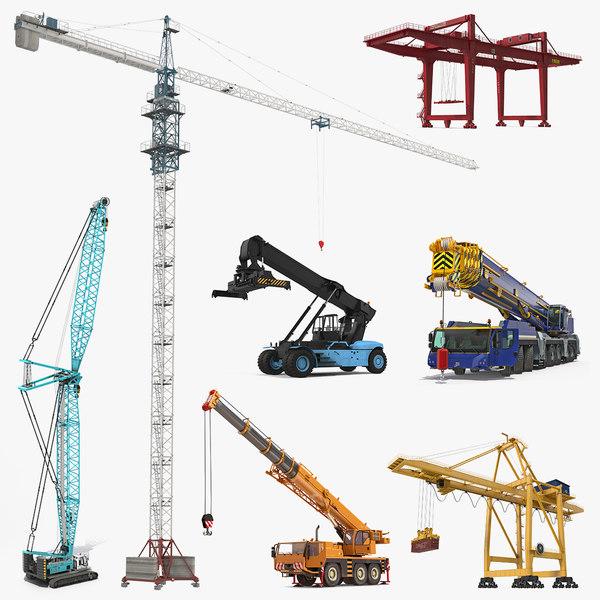 3D cranes 3 rigged