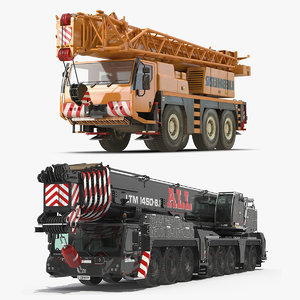 rigged mobile cranes liebherr 3D model