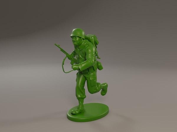 3D american soldier ww2 run