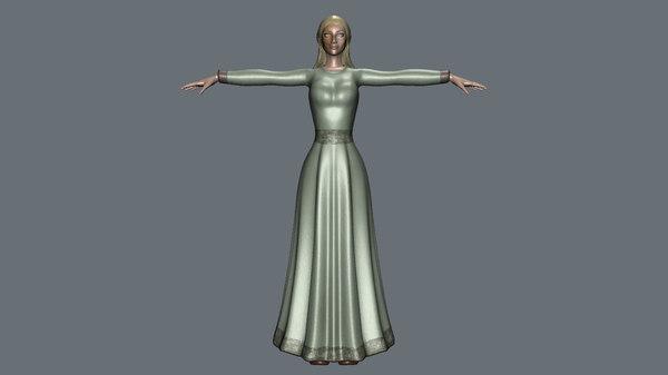 3D model female character lady woman