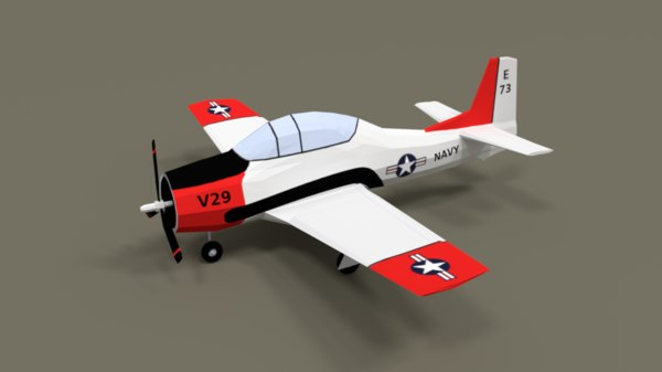 t-28 trojan training airplane 3D