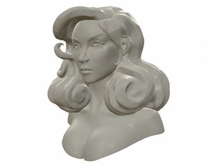 watertight printable female bust 3D model