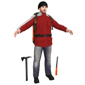 survivor man backpack 3D model