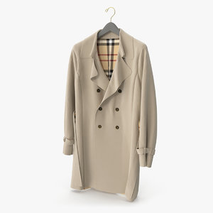 beige trenchcoat 3D model
