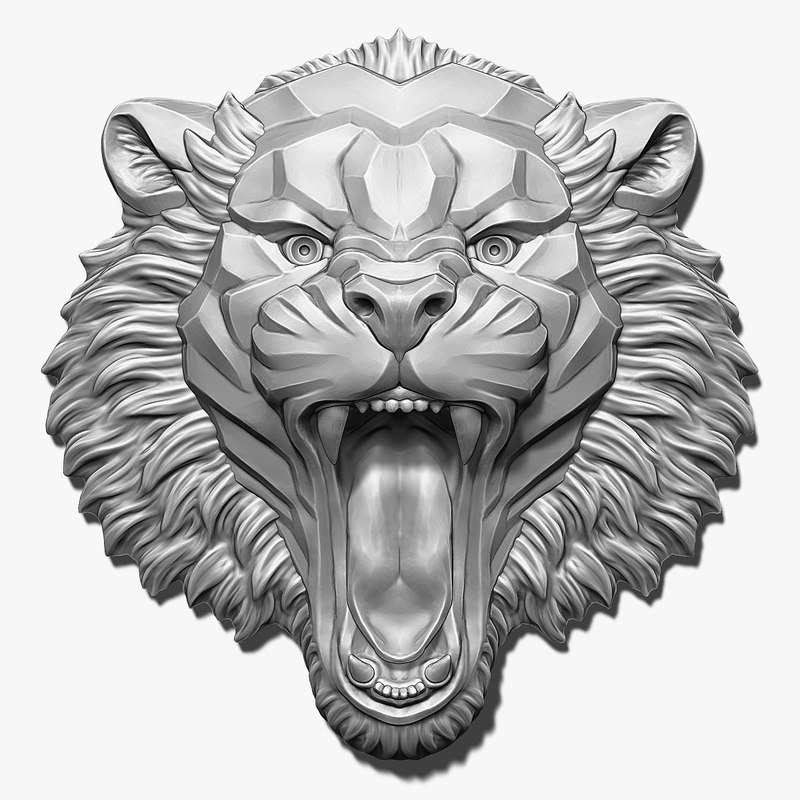 angry tiger head bas-relief 3D model