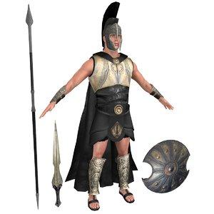 3D achilles helmet sword