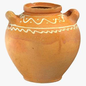 3D model clay pot 01