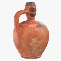 3D clay pot 02 model