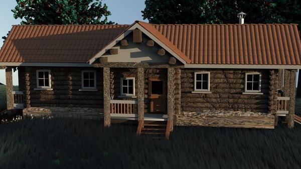 3D model wooden hut