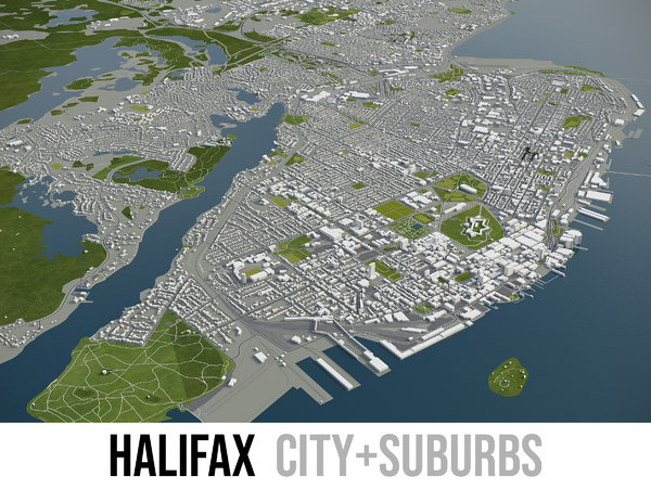 3D city halifax surrounding -